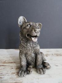beeldje Duitse Herder puppy bronskleur