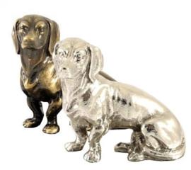 beeldje Teckel korthaar zilvertin
