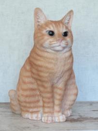 beeld/asbeeld/urn Kat zittend rood | 29 cm