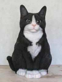 beeld/asbeeld/urn Kat zittend zwart-wit | 29 cm