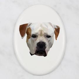 Ovalen tegeltje Amerikaanse Bulldog