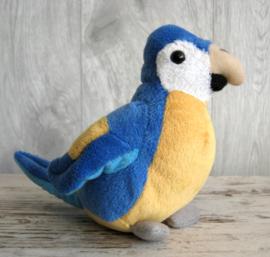 pluchen papegaai blauw-geel
