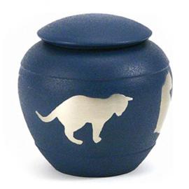 urn Kat silhouette blauw