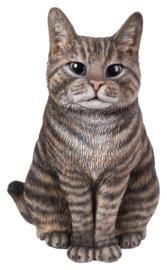beeld/asbeeld/urn Kat zittend bruingrijs | 29 cm