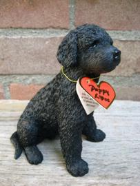 beeldje Poedel puppy zwart