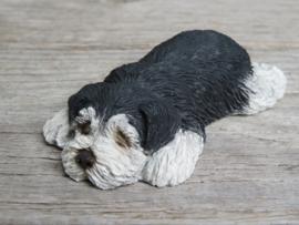 (nieuw)vintage beeldje Schnauzer zwart-grijs