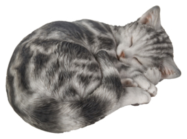 beeld/asbeeld/urn Kat slapend grijs gemarmerd
