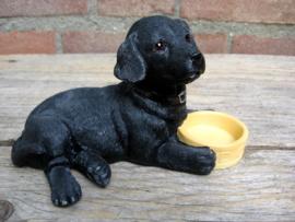 beeldje Labrador zwart met voerbakje