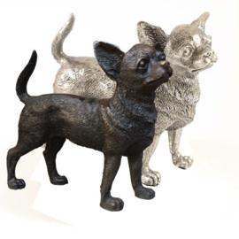 beeldje Chihuahua korthaar zilvertin/verbronsd