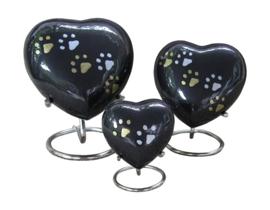 urn Heart Paw Print zwart goud- en zilverkleurige pootjes