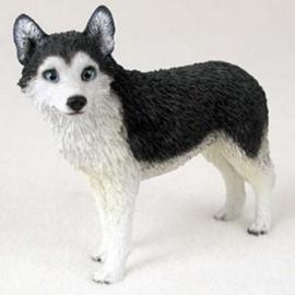 beeldje Husky zwart-wit staand