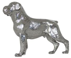 beeldje Rottweiler zilvertin met gecoupeerde staart