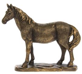 beeldje staand paard in bronskleur