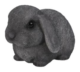 beeldje/asbeeldje/urn Hangoorkonijn grijs