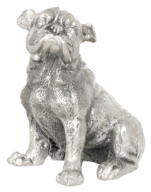 beeldje Engelse Bulldog zittend zilvertin