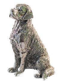 sculptuur Golden Retriever zilvertin zittend