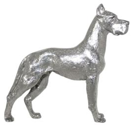 beeldje Duitse Dog  zilvertin met gecoupeerde oren