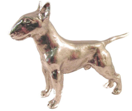 beeldje Engelse Bull Terriër zilvertin