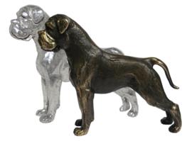 beeldje Boxer zilvertin staand