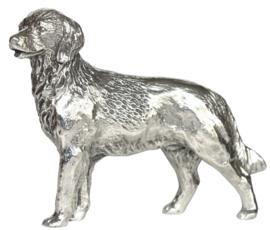 beeldje Golden Retriever zilvertin staand