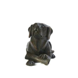 asbeeld/urn hond met bot | 40 cm