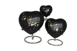 urn Heart Paw Print zwart met goudkleurige pootjes