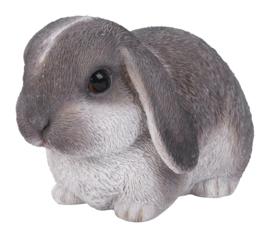 beeldje/asbeeldje/urn Hangoorkonijn grijs-wit