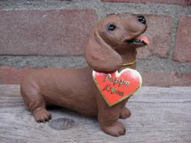 beeldje Teckel puppy rood