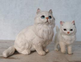 beeldje witte Perzische kat met kitten