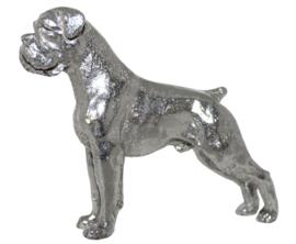 beeldje Boxer zilvertin gecoupeerde staart