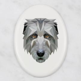 Ovalen tegeltje Ierse wolfshond