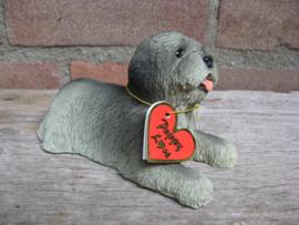 beeldje Lhasa Apso puppy grijs