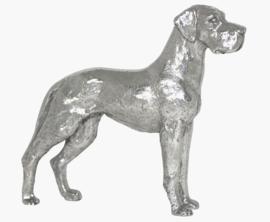 beeldje Duitse Dog staand zilvertin