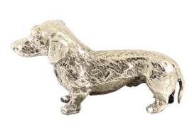 sculptuur Teckel staand zilvertin