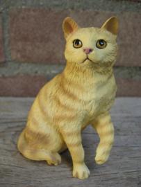 beeldje zittende kat rood tabby