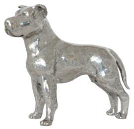 beeldje Staffordshire Terrier zilvertin