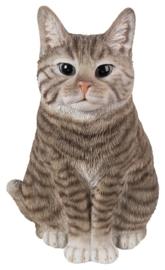 beeld/asbeeld/urn Kat zittend tabby lichtbruin | 29 cm