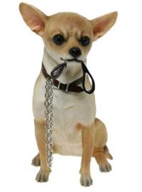 beeldje Chihuahua korthaar met riem