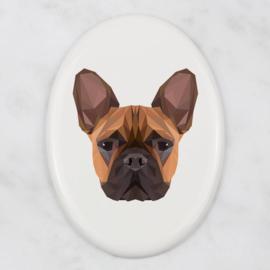 Ovalen tegeltje Franse Bulldog