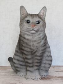 beeld/asbeeld/urn Kat zittend grijs | 29 cm