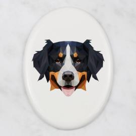 Ovalen tegeltje Berner Sennenhond