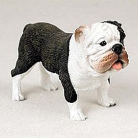beeldje Engelse Bulldog brindle-wit