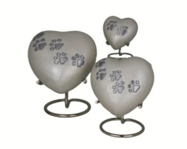 urn Heart Paw Print cream
