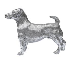 beeldje Jack Russell Terriër zilvertin 15 cm