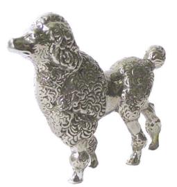 beeldje Poedel staand zilvertin