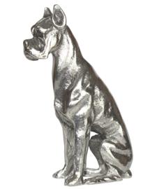 beeldje Duitse Dog zittend zilvertin
