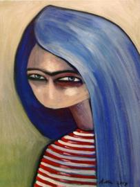 Blue hair girl | 40x30cm | TE KOOP