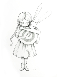 Girl with Target Bunny - pencil drawing