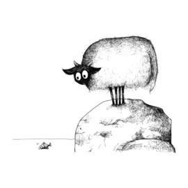 Connemara en visje - kunstprint