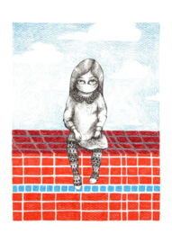 Girl at a swimming pool - kunstprint